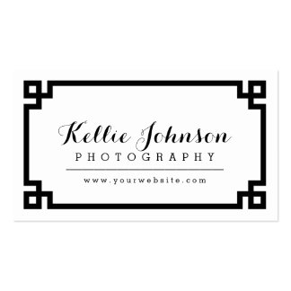 Black and White Chic Greek Key Border Business Card