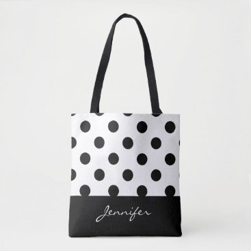 dancingpelican Black and White Chic Polka Dots with Monogram Tote Bag