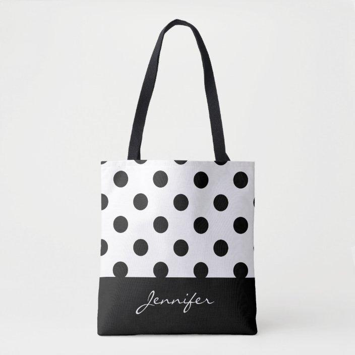 Monogrammed Black /& White Polka Dot Tote Bag