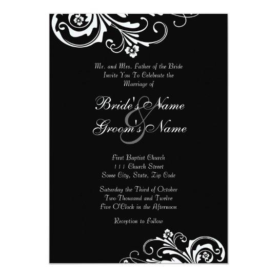 Black and White Chic Wedding Invitation