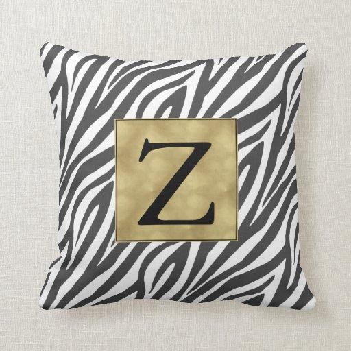 Black And White Zebra Throw Pillows : Black and White Chic Zebra Print Monogram Throw Pillow Zazzle