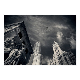 Black and White Chicago City Skyline with Airplane Poster