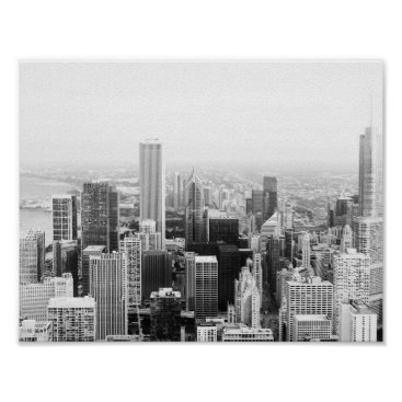USA Themed Black and White Chicago Illinois Poster