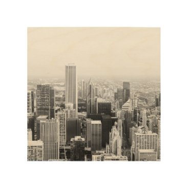 USA Themed Black and White Chicago Illinois Wood Wall Art