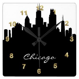 Black and White Chicago Skyline Square Wallclock