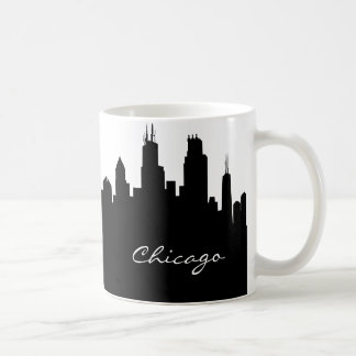 Black and White Chicago Skyline Coffee Mug