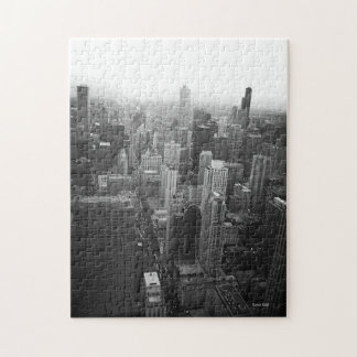 Black and White Chicago Skyline Jigsaw Puzzle
