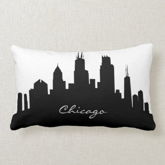 Black and White Chicago Skyline Lumbar Pillow