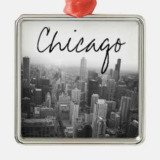 Black and White Chicago Skyline Metal Ornament
