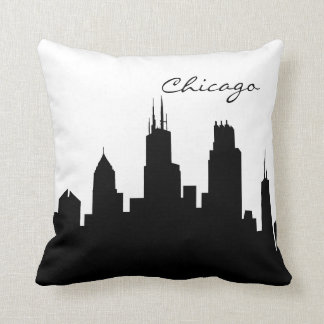 Black and White Chicago Skyline Throw Pillows
