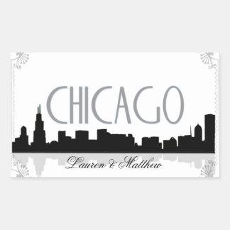 Black and white Chicago skyline Rectangular Sticker