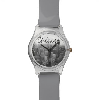 Black and White Chicago Skyline Wristwatch