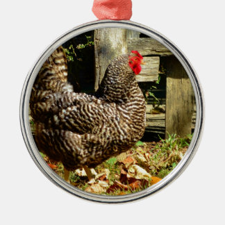 Black and white Chicken Metal Ornament