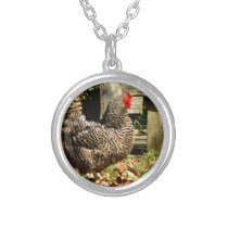Black and white Chicken Silver Plated Necklace