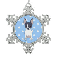 Black and White Chihuahua White Christmas Trees Ornament