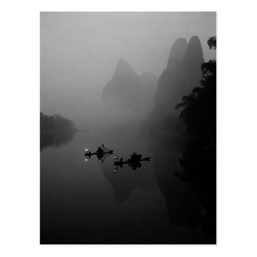 Black and white, China, Li River, Fisherman on Post Card