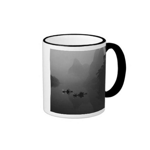 Black and white, China, Li River, Fisherman on Ringer Mug