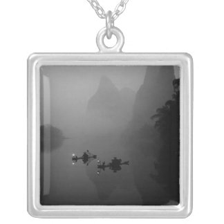 Black and white, China, Li River, Fisherman on Silver Plated Necklace