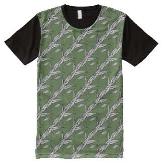 Black And White Chinese Praying Mantis On Leaves All-Over Print T-shirt