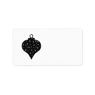 Black and White Christmas Bauble Design. Label