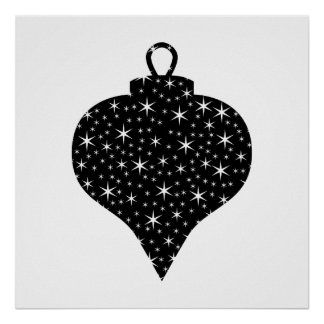 Black and White Christmas Bauble Design. Poster