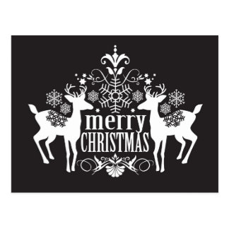 Black and white Christmas design Postcard