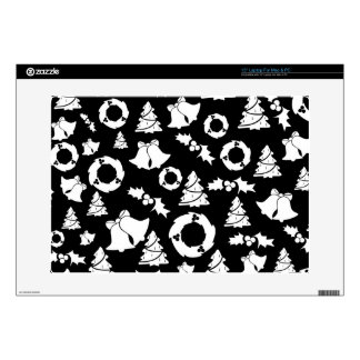 Black and White Christmas Pattern Skin For Laptop