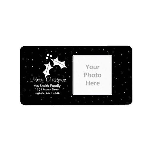 Black and White Christmas Photo Frame Address Label