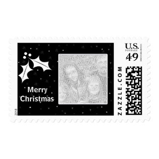 Black and White Christmas Photo Frame Postage Stamp