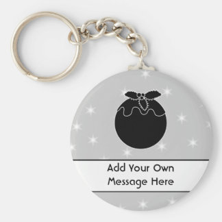 Black and White Christmas Pudding and Stars. Keychains
