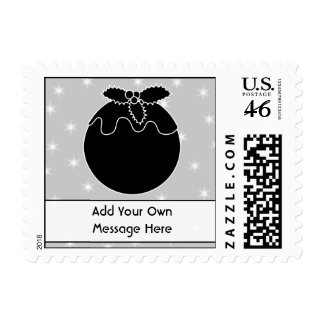 Black and White Christmas Pudding and Stars Postage Stamps