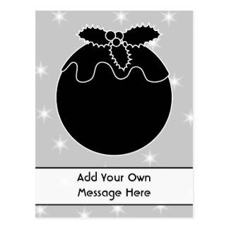 Black and White Christmas Pudding and Stars. Postcard