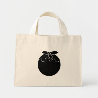 Black and White Christmas Pudding. Canvas Bags