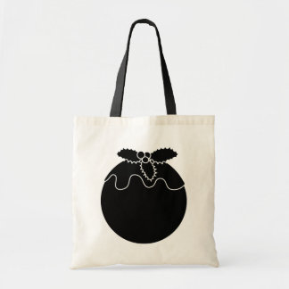 Black and White Christmas Pudding. Tote Bags