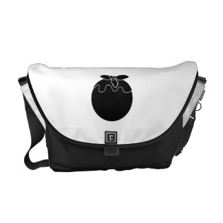 Black and White Christmas Pudding. Commuter Bag