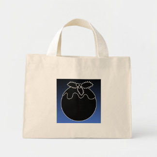 Black and White Christmas Pudding. On Blue. Tote Bag