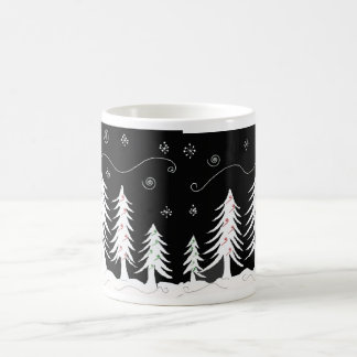 Black and White Christmas Tree Design Coffee Mug