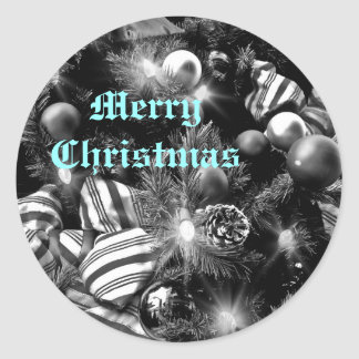 Black and white Christmas tree picture Round Sticker
