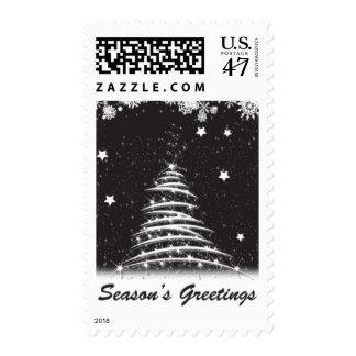 Black and white christmas tree postage-medium postage stamp
