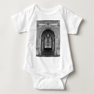 Black And White Church Interior Baby Bodysuit