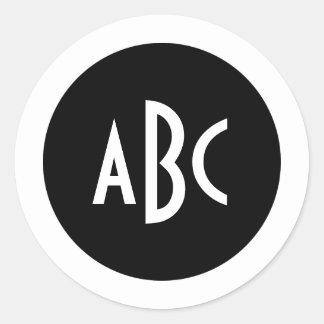 Black and White Circle Monogram Classic Round Sticker