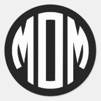 Black and White Circle Monogram MOM Classic Round Sticker