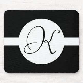 Black and White Circle Monogram Mouse Pad