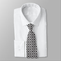 black and white circle pattern tie