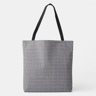 Black and white circle pattern tote bag
