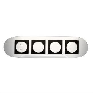 Black and White Circle, Simple Geometric Design. Skateboard
