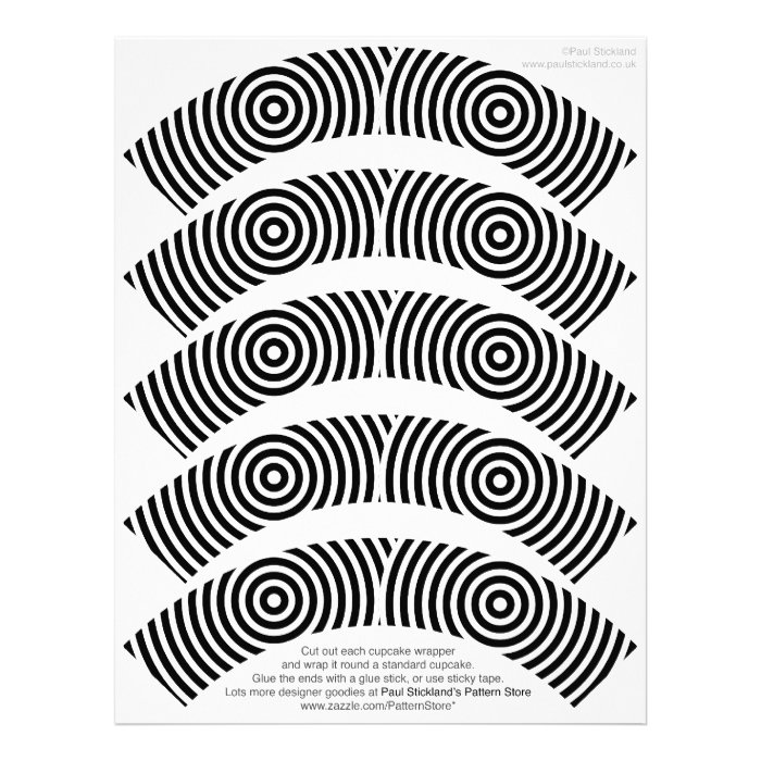 Black and White Circles Cupcake Wrappers on Letterhead