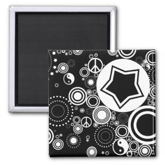 black and white circles magnet