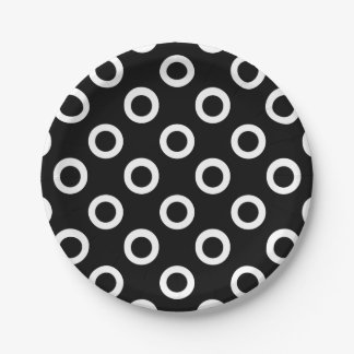 Black and White Circles on Black Paper Plates
