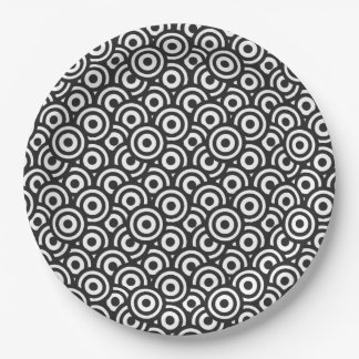 Black and White Circles Paper Plate
